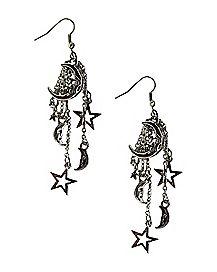 Chain Moon and Star Dangle Earrings