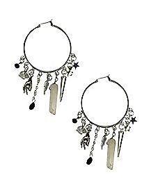 Mystical Charm Dangle Hoop Earrings
