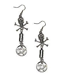 Skull and Crossbones Dangle Earrings