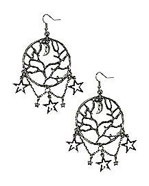 Tree of Life Star Dangle Earrings