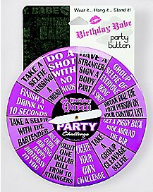 Purple Birthday Babe Spinning Button