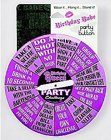 Purple Birthday Babe Spinning Button