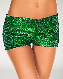 Sequin Booty Shorts Green