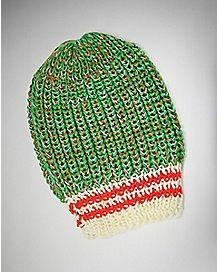 Green Orange Knit Slouchy Beanie Hat