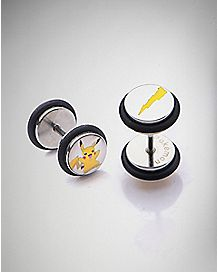 Pikachu Pokemon Faux Plugs - 18 Gauge