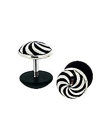 Black and White Swirl Fake Plug - 16 Gauge