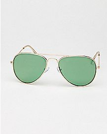Aviator Sunglasses - Gold Frame Green Lens