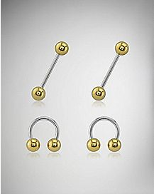 Nipple Ring 4 Pack - 14 Gauge