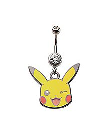 Cz Pikachu Pokemon Dangle Belly Ring - 14 Gauge