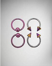 16 Gauge Pink Captive Hoop Ring 4 Pack