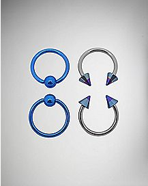 Blue Captive Hoop Ring 4 Pack - 16 Gauge