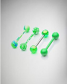 Neon Green Swirl Barbell 4 Pack - 14 Gauge