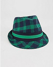 Green Navy Plaid Fedora Hat
