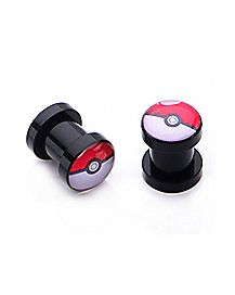 Black Pokeball Plugs - Pokemon