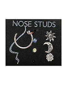 Sun Moon CZ Nose Ring 6 Pack - 20 Gauge