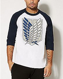 Attack On Titan Raglan 3/4 Sleeve T shirt