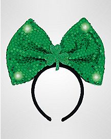 Green Light Up Bow Headband