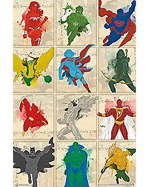 Simplistic Grid Justice League Poster