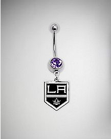 Los Angeles Kings NHL Dangle Belly Ring - 14 Gauge
