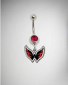 Red Washington Captials Dangle Belly Ring -  14 Gauge