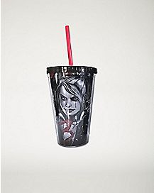 Tears Arkham Harley Quinn DC Comics Cup With Straw - 16 oz.