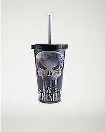 The Punisher Marvel Cup With Straw 16 oz