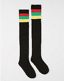Athletic Stripe Rasta Thigh High Socks