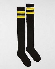 Athletic Stripe Thigh High Socks Black and Gold