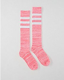Athletic Stripe Marble Knee High Socks Pink
