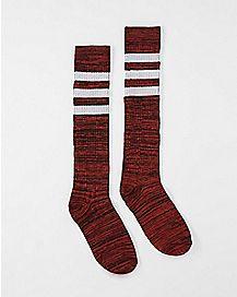 Athletic Stripe Marble Knee High Socks Red