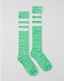 Athletic Stripe Marble Knee High Socks Green