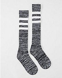 Athletic Stripe Marble Knee High Socks Black
