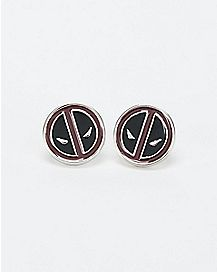 Marvel Deadpool Face Stud Earrings