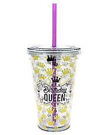 Birthday Queen Cup With Straw - 16 oz.