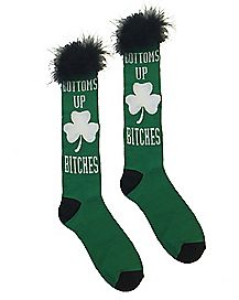 Bottoms Up Bitches St. Patrick's Day Crew Socks
