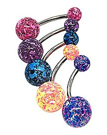 Multicolor Splatter Belly Ring 5 Pack - 14 Gauge