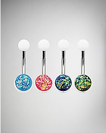 Colored Sparkle Belly Ring 4 Pack - 14 Gauge