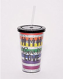 Glitter Love Is Love Cup with Straw - 16 oz