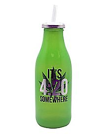 Its 420 Somewhere Water Bottle With Straw - 16 oz