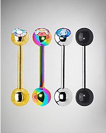 Rainbow Black Cz Barbell 4 Pack - 14 Gauge