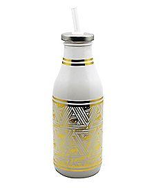 Gold Eye Milk Bottle With Straw - 16 oz.