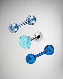 Blue Tragus Cartilage Earring 3 Pack - 16 Gauge