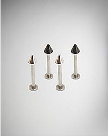 Cone Dimple Labret Lip Ring 4 Pack - 14 Gauge