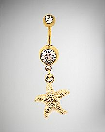 CZ Starfish Belly Ring - 14 Gauge