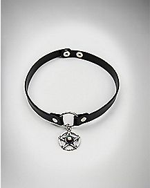Black Pentagram Charm Choker Necklace