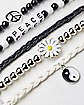Peace Flower Yin Yang Bracelet 5 Pack