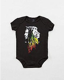 Lion Rasta Face Bob Marley Baby Snapsuit