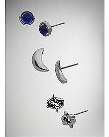 Moon Zodiac Pisces Stud Earring 3 Pack
