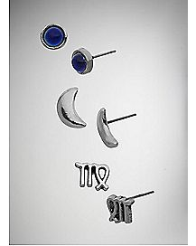 Silver Moon Virgo Zodiace Stud Earrings 3 Pack