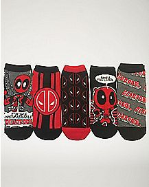 Deadpool No Show Ankle Socks- 5 Pairs